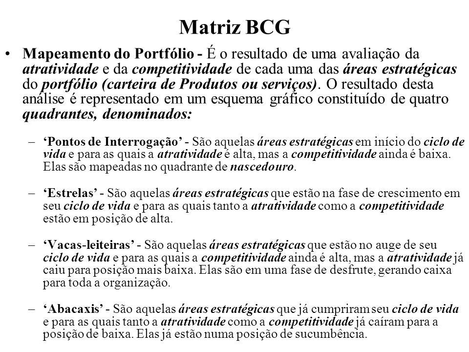 Matriz BCG Mapeamento do Portfólio - É o resultado de uma avaliação da atratividade e da competitividade de cada uma das áreas estratégicas do portfól