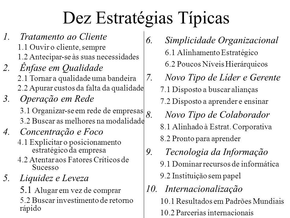 Dez Estratégias Típicas 6.Simplicidade Organizacional 6.1 Alinhamento Estratégico 6.2 Poucos Níveis Hierárquicos 7.Novo Tipo de Líder e Gerente 7.1 Di