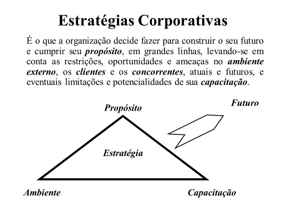 Estratégias Corporativas É o que a organização decide fazer para construir o seu futuro e cumprir seu propósito, em grandes linhas, levando-se em cont
