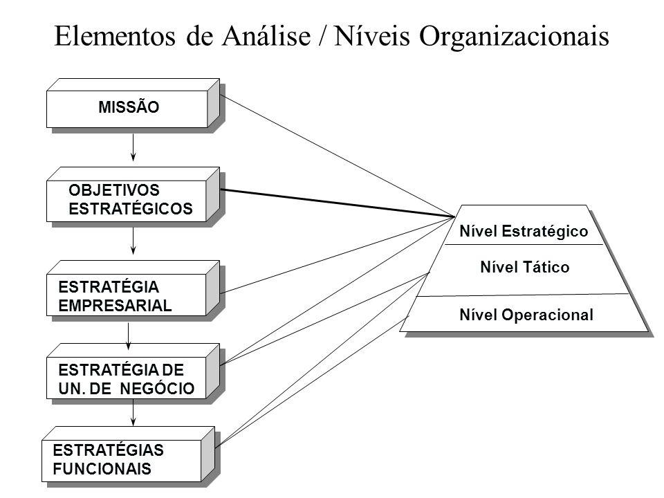 Elementos de Análise / Níveis Organizacionais MISSÃO OBJETIVOS ESTRATÉGICOS ESTRATÉGIA EMPRESARIAL ESTRATÉGIA DE UN. DE NEGÓCIO ESTRATÉGIAS FUNCIONAIS