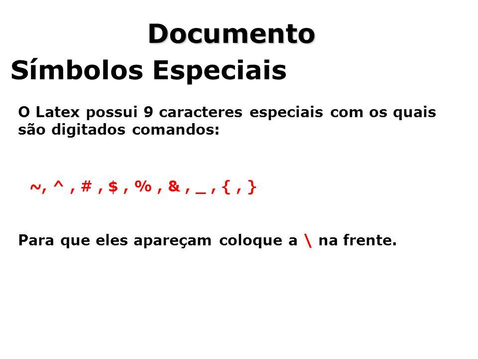 Documento Símbolos Especiais O Latex possui 9 caracteres especiais com os quais são digitados comandos: ~, ^, #, $, %, &, _, {, } Para que eles apareç