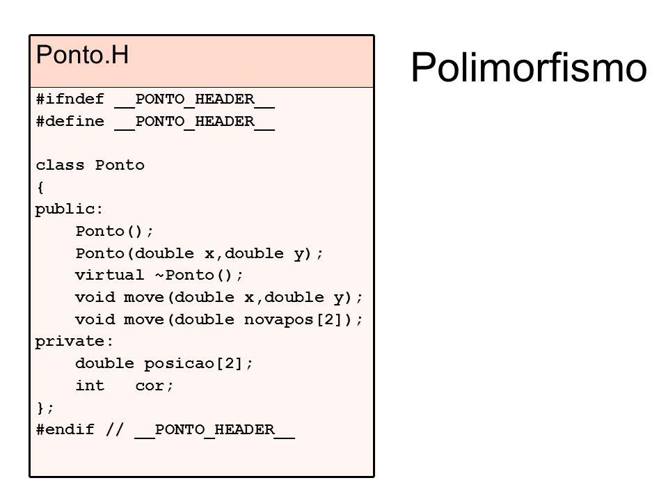 Polimorfismo #ifndef __PONTO_HEADER__ #define __PONTO_HEADER__ class Ponto { public: Ponto(); Ponto(double x,double y); virtual ~Ponto(); void move(double x,double y); void move(double novapos[2]); private: double posicao[2]; int cor; }; #endif // __PONTO_HEADER__ Ponto.H