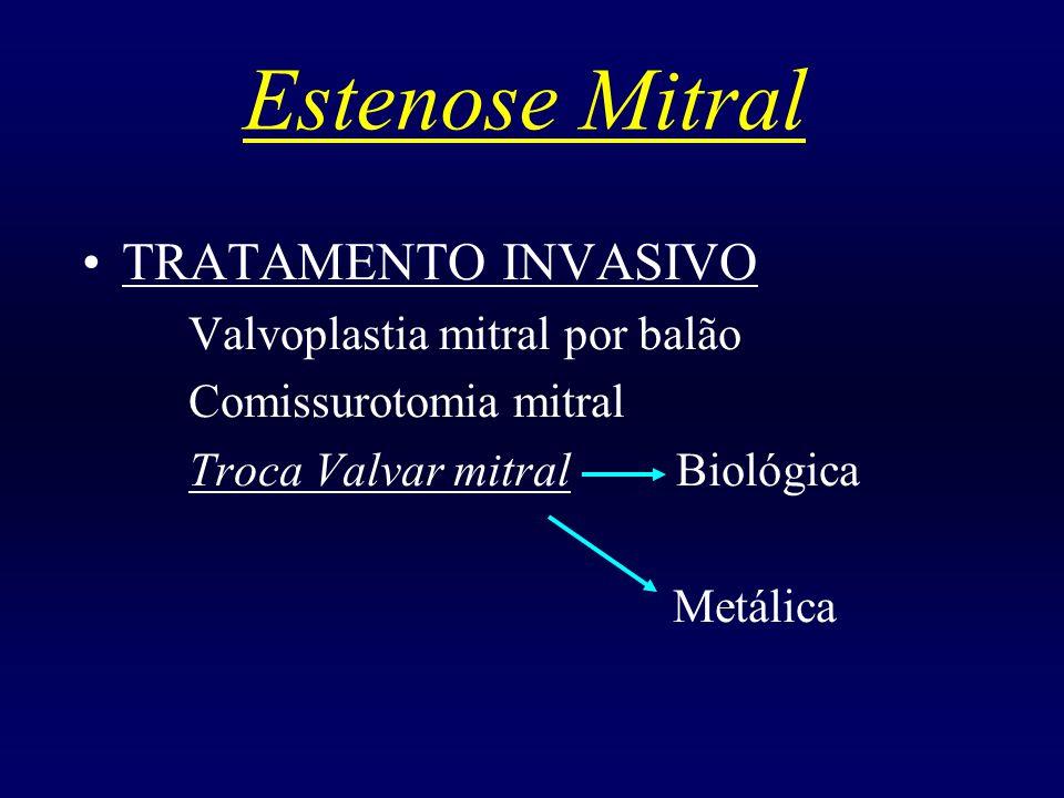 Estenose Mitral TRATAMENTO INVASIVO Valvoplastia mitral por balão Comissurotomia mitral Troca Valvar mitral Biológica Metálica