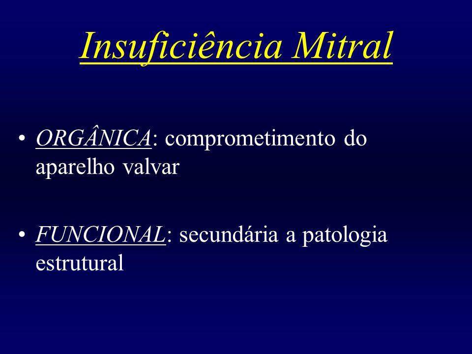 Insuficiência Mitral ORGÂNICA: comprometimento do aparelho valvar FUNCIONAL: secundária a patologia estrutural