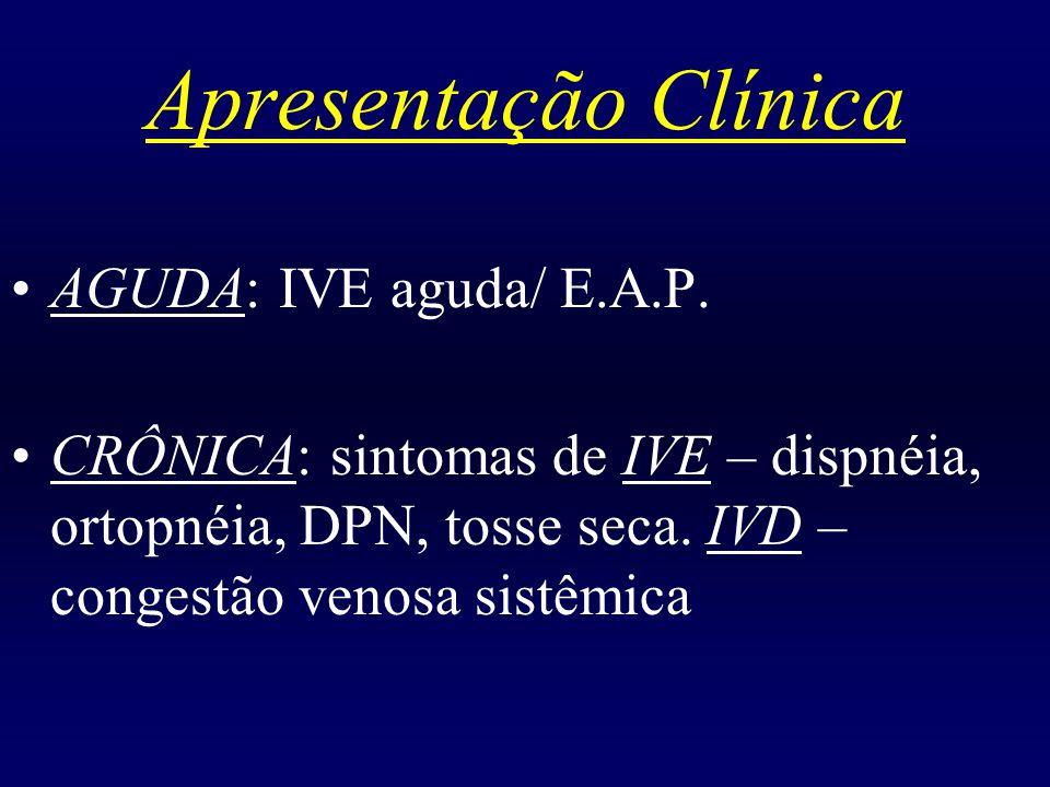 Apresentação Clínica AGUDA: IVE aguda/ E.A.P. CRÔNICA: sintomas de IVE – dispnéia, ortopnéia, DPN, tosse seca. IVD – congestão venosa sistêmica