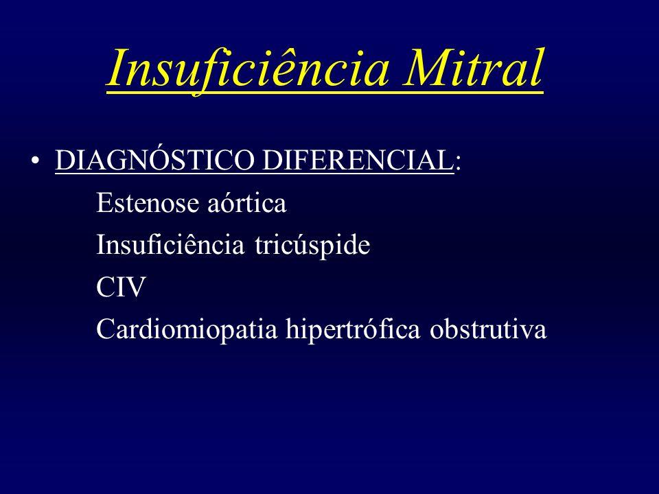 Insuficiência Mitral DIAGNÓSTICO DIFERENCIAL: Estenose aórtica Insuficiência tricúspide CIV Cardiomiopatia hipertrófica obstrutiva