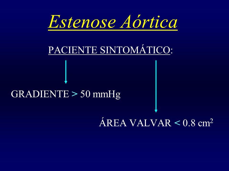 Estenose Aórtica PACIENTE SINTOMÁTICO: GRADIENTE > 50 mmHg ÁREA VALVAR < 0.8 cm 2