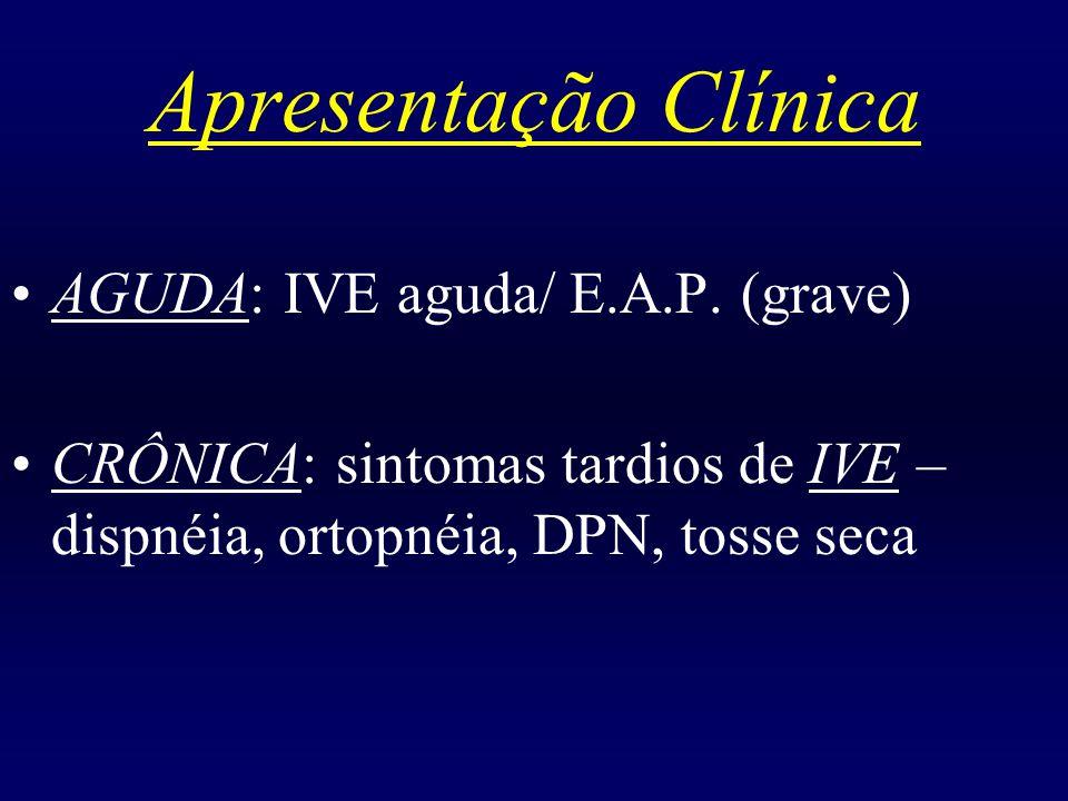 Apresentação Clínica AGUDA: IVE aguda/ E.A.P. (grave) CRÔNICA: sintomas tardios de IVE – dispnéia, ortopnéia, DPN, tosse seca