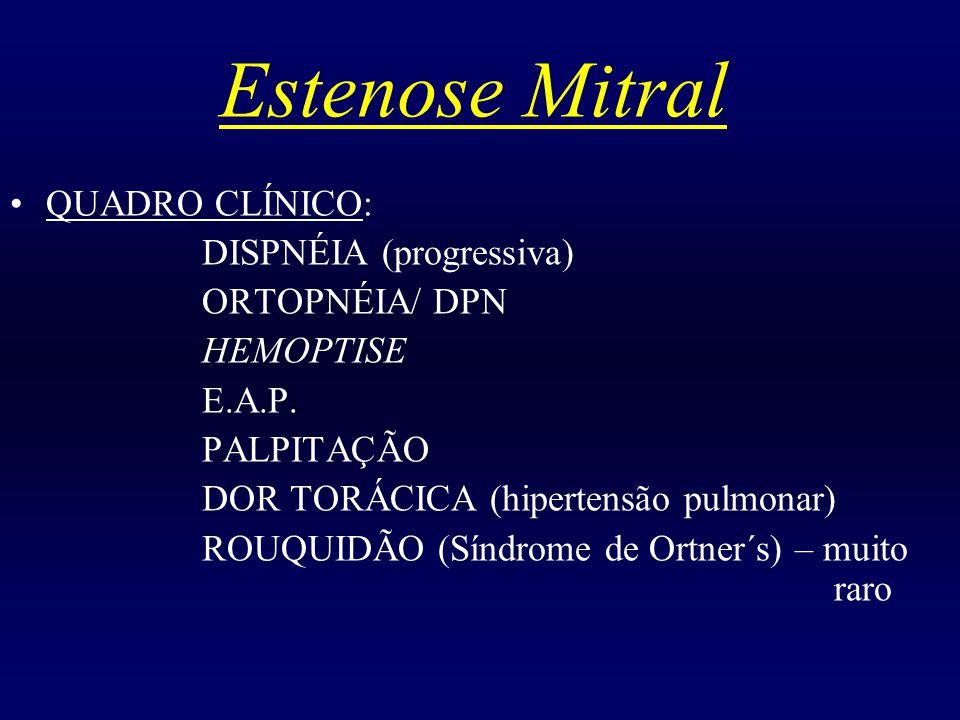Estenose Mitral QUADRO CLÍNICO: DISPNÉIA (progressiva) ORTOPNÉIA/ DPN HEMOPTISE E.A.P. PALPITAÇÃO DOR TORÁCICA (hipertensão pulmonar) ROUQUIDÃO (Síndr