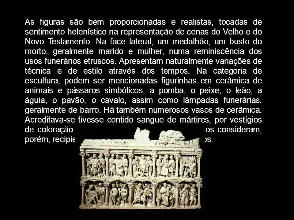 As figuras são bem proporcionadas e realistas, tocadas de sentimento helenístico na representação de cenas do Velho e do Novo Testamento. Na face late