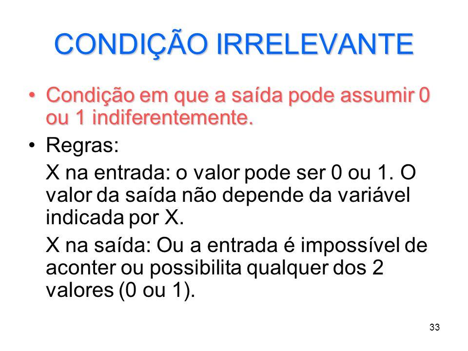 33 CONDIÇÃO IRRELEVANTE Condição em que a saída pode assumir 0 ou 1 indiferentemente.Condição em que a saída pode assumir 0 ou 1 indiferentemente. Reg