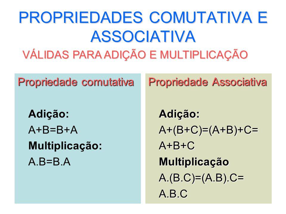 7 PROPRIEDADES COMUTATIVA E ASSOCIATIVA Propriedade comutativa Adição: A+B=B+A Multiplicação: A.B=B.A Propriedade Associativa Adição:A+(B+C)=(A+B)+C=A