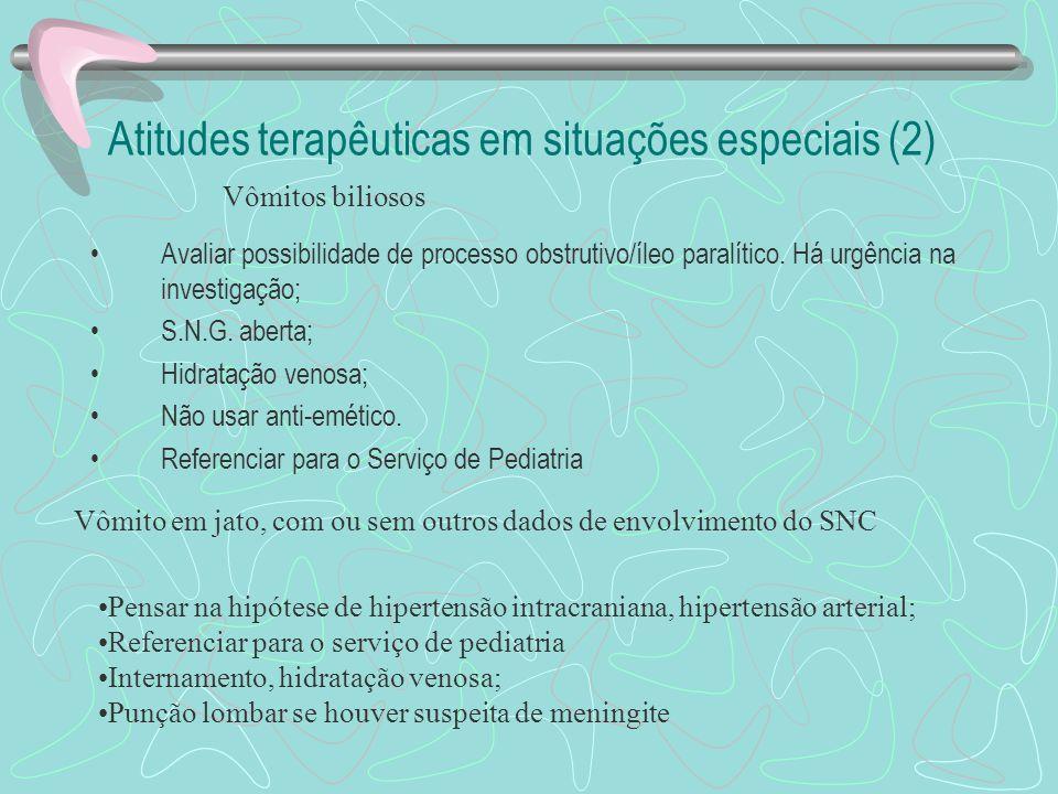 Atitudes terapêuticas em situações especiais (1) Introdução de sonda nasogástrica e lavagem gástrica com soro fisiológico (na temperatura ambiente), a
