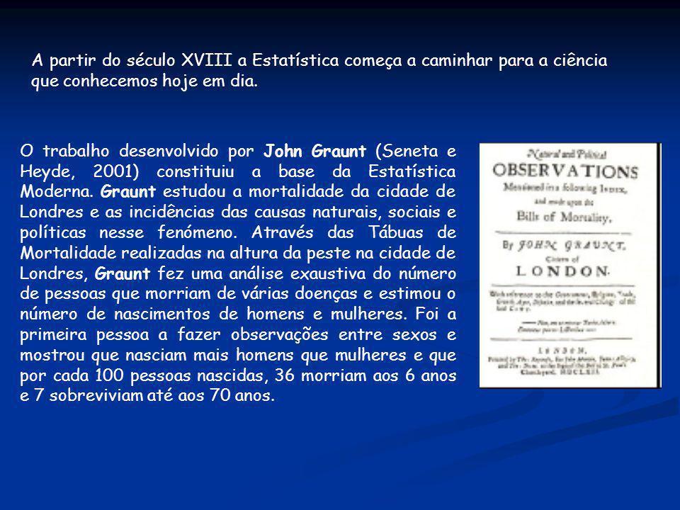 A partir do século XVIII a Estatística começa a caminhar para a ciência que conhecemos hoje em dia. O trabalho desenvolvido por John Graunt (Seneta e