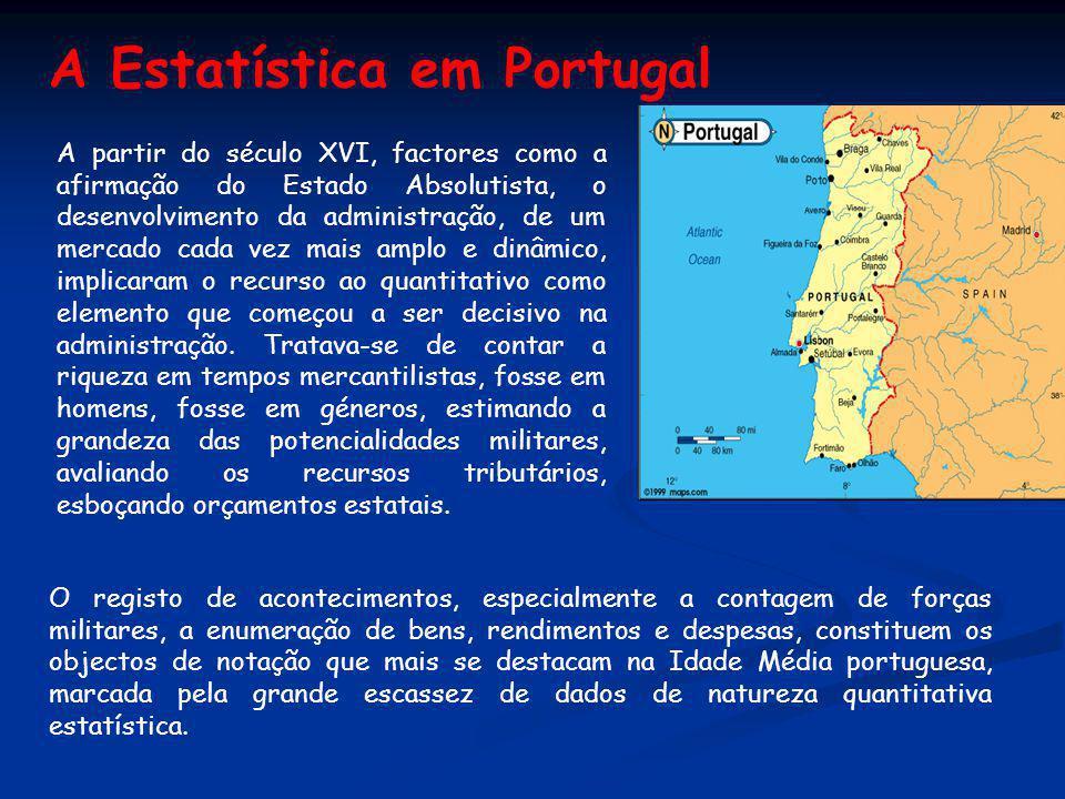 A Estatística em Portugal A partir do século XVI, factores como a afirmação do Estado Absolutista, o desenvolvimento da administração, de um mercado c