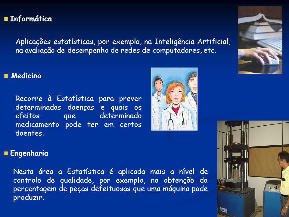 Informática Aplicações estatísticas, por exemplo, na Inteligência Artificial, na avaliação de desempenho de redes de computadores, etc. Medicina Recor