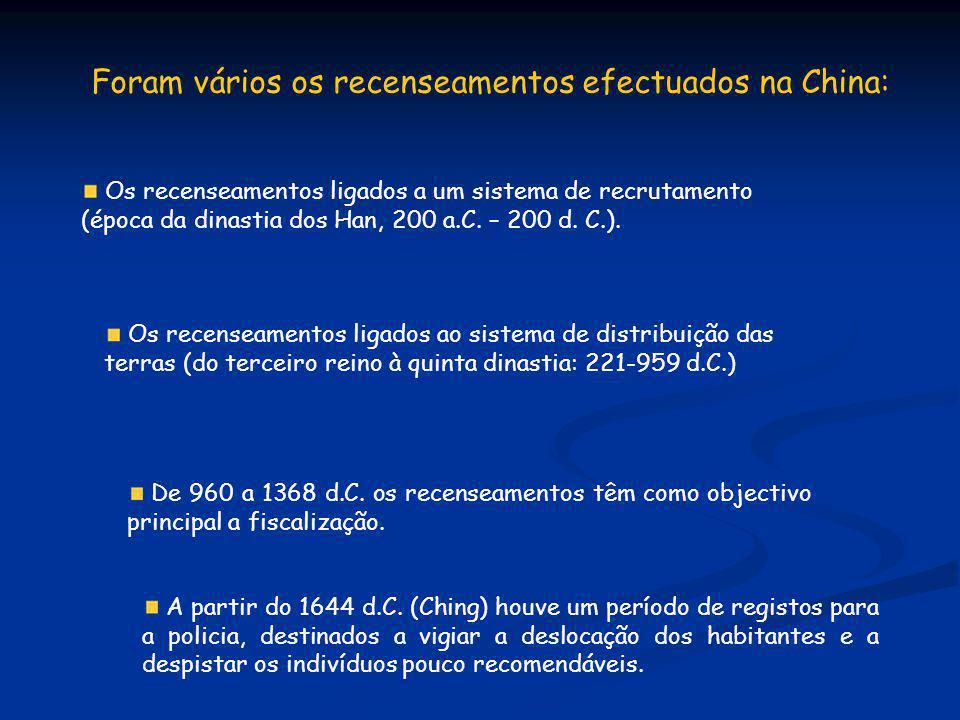 Foram vários os recenseamentos efectuados na China: Os recenseamentos ligados a um sistema de recrutamento (época da dinastia dos Han, 200 a.C. – 200