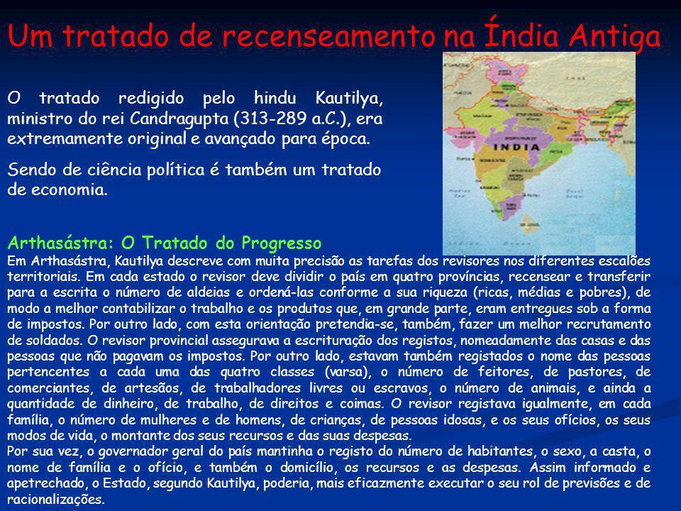 Um tratado de recenseamento na Índia Antiga O tratado redigido pelo hindu Kautilya, ministro do rei Candragupta (313-289 a.C.), era extremamente origi