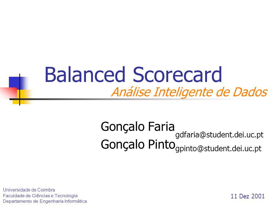 Balanced Scorecard Gonçalo Faria Gonçalo Pinto gdfaria@student.dei.uc.pt gpinto@student.dei.uc.pt Universidade de Coimbra Faculdade de Ciências e Tecn