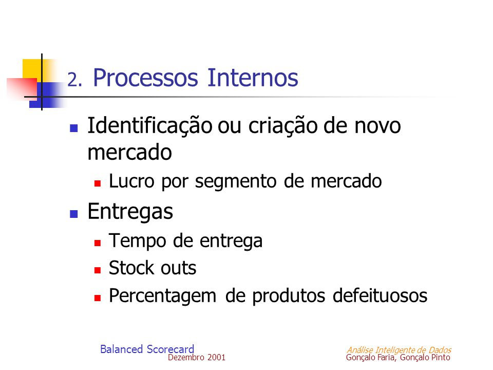 Dezembro 2001 Gonçalo Faria, Gonçalo Pinto Balanced Scorecard Análise Inteligente de Dados 2. Processos Internos Identificação ou criação de novo merc