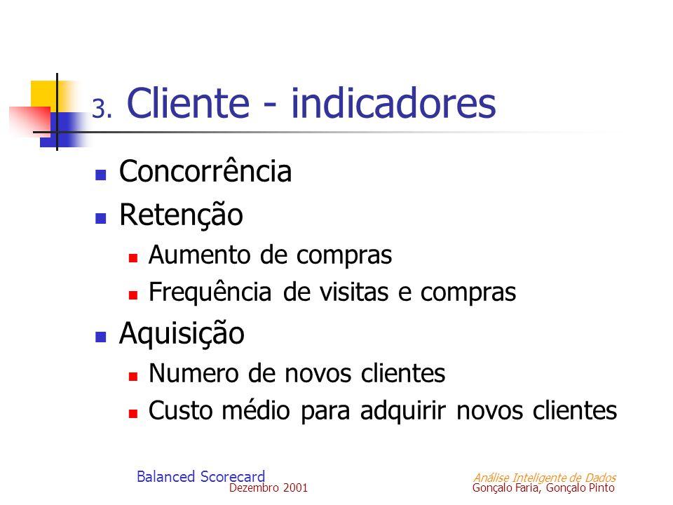 Dezembro 2001 Gonçalo Faria, Gonçalo Pinto Balanced Scorecard Análise Inteligente de Dados 3. Cliente - indicadores Concorrência Retenção Aumento de c