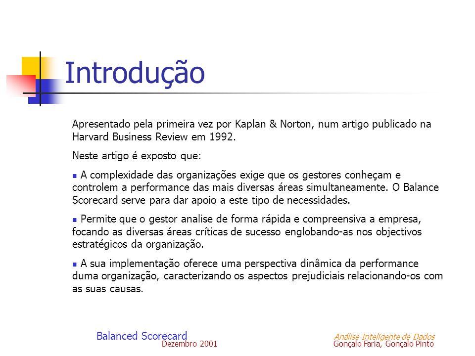 Dezembro 2001 Gonçalo Faria, Gonçalo Pinto Balanced Scorecard Análise Inteligente de Dados Introdução Apresentado pela primeira vez por Kaplan & Norto