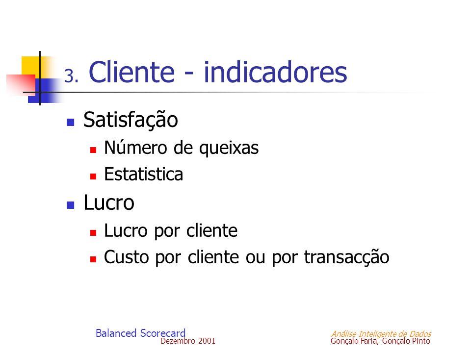 Dezembro 2001 Gonçalo Faria, Gonçalo Pinto Balanced Scorecard Análise Inteligente de Dados 3. Cliente - indicadores Satisfação Número de queixas Estat
