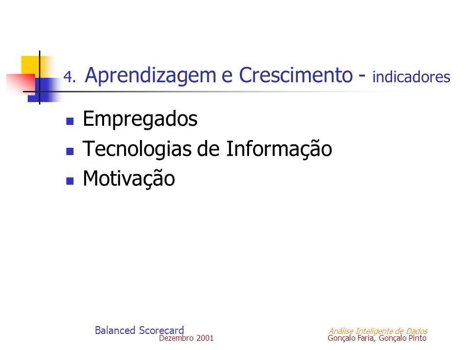 Dezembro 2001 Gonçalo Faria, Gonçalo Pinto Balanced Scorecard Análise Inteligente de Dados 4. Aprendizagem e Crescimento - indicadores Empregados Tecn