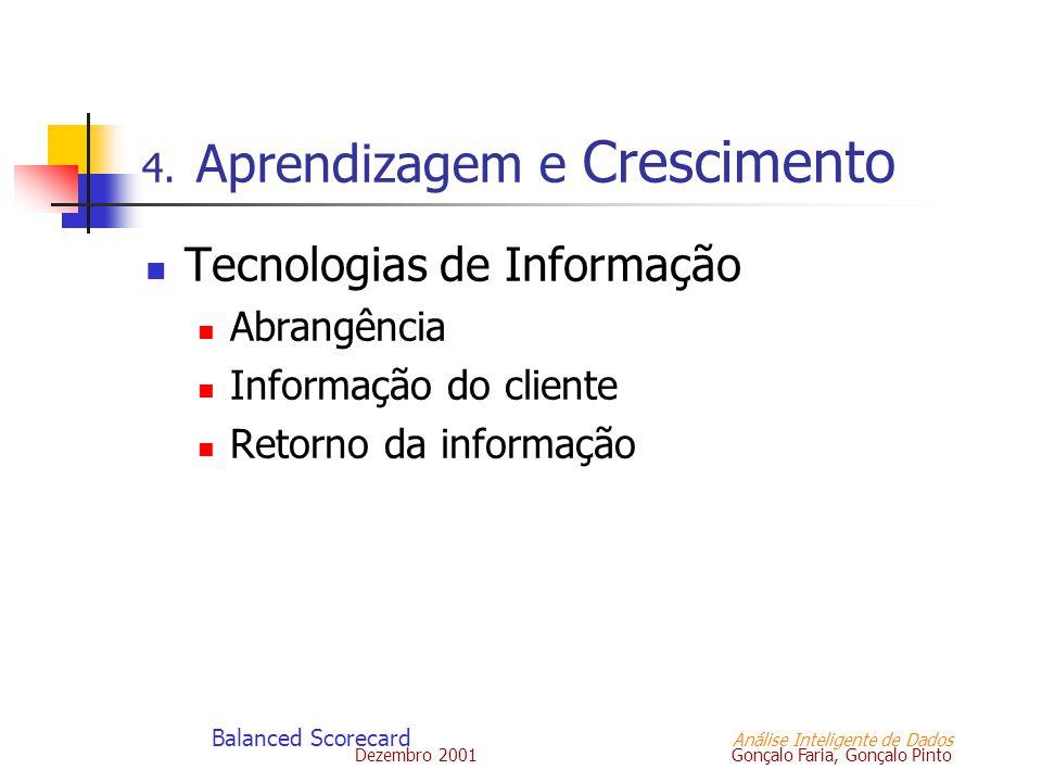 Dezembro 2001 Gonçalo Faria, Gonçalo Pinto Balanced Scorecard Análise Inteligente de Dados 4. Aprendizagem e Crescimento Tecnologias de Informação Abr