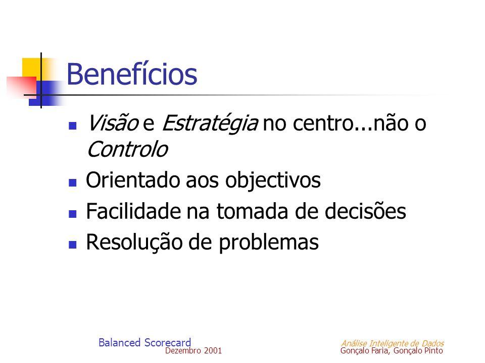 Dezembro 2001 Gonçalo Faria, Gonçalo Pinto Balanced Scorecard Análise Inteligente de Dados Benefícios Visão e Estratégia no centro...não o Controlo Or