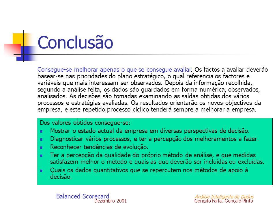 Dezembro 2001 Gonçalo Faria, Gonçalo Pinto Balanced Scorecard Análise Inteligente de Dados Conclusão Dos valores obtidos consegue-se: Mostrar o estado