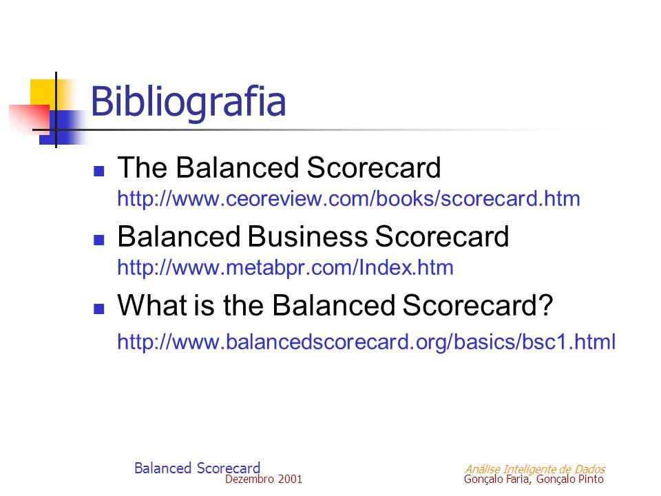 Dezembro 2001 Gonçalo Faria, Gonçalo Pinto Balanced Scorecard Análise Inteligente de Dados Bibliografia The Balanced Scorecard http://www.ceoreview.co