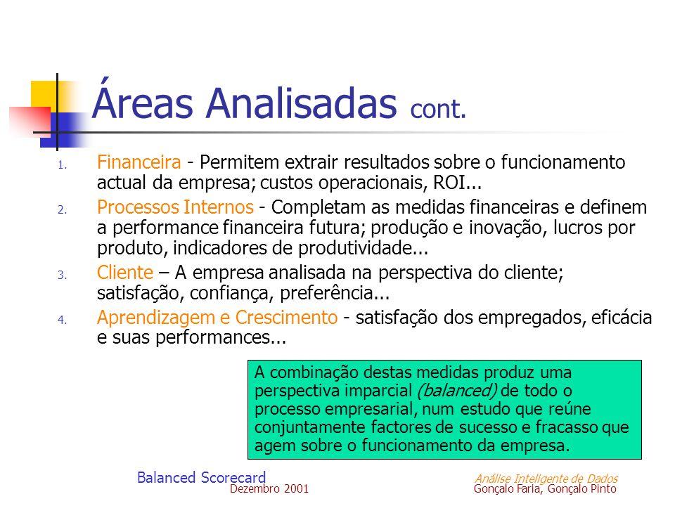Dezembro 2001 Gonçalo Faria, Gonçalo Pinto Balanced Scorecard Análise Inteligente de Dados Áreas Analisadas cont. 1. Financeira - Permitem extrair res