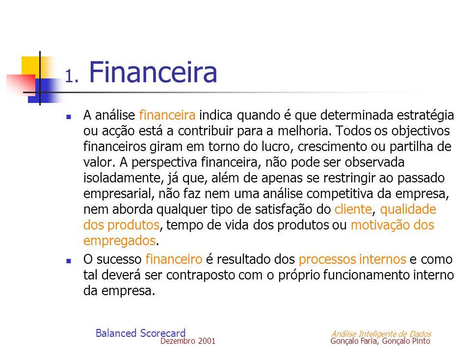 Dezembro 2001 Gonçalo Faria, Gonçalo Pinto Balanced Scorecard Análise Inteligente de Dados 1. Financeira A análise financeira indica quando é que dete