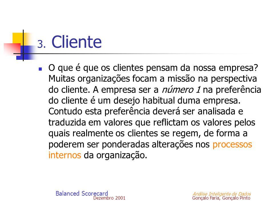 Dezembro 2001 Gonçalo Faria, Gonçalo Pinto Balanced Scorecard Análise Inteligente de Dados 3. Cliente O que é que os clientes pensam da nossa empresa?