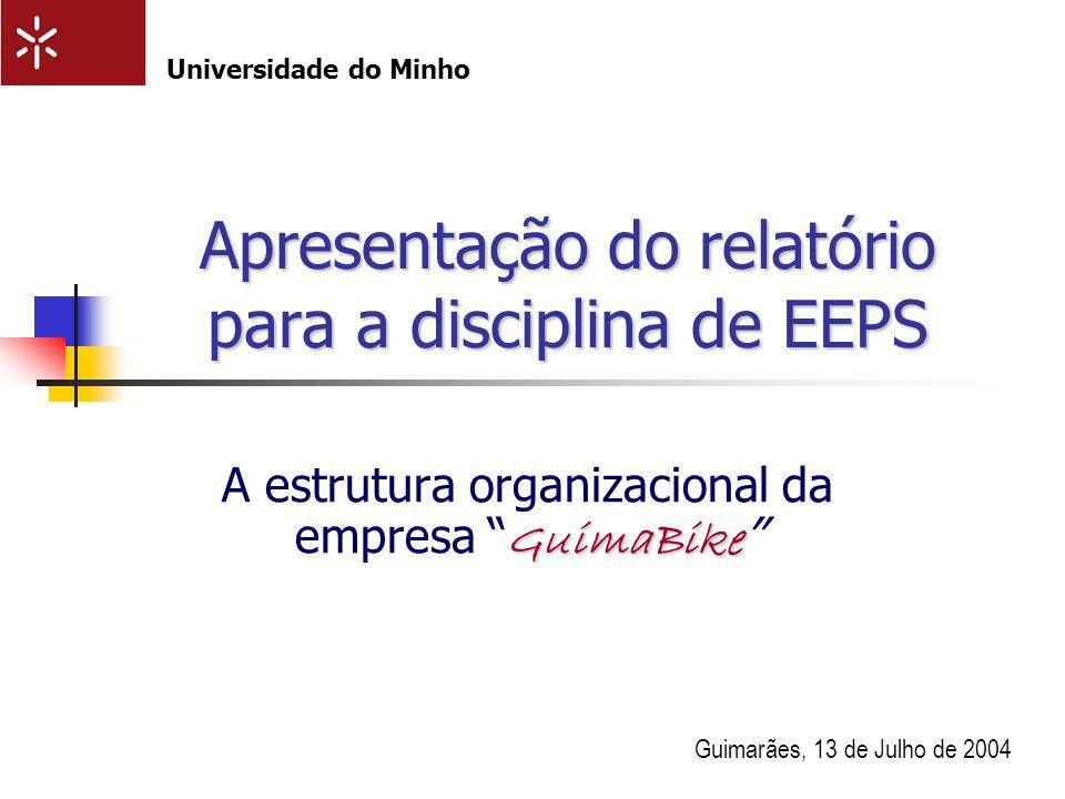 Apresentação do relatório para a disciplina de EEPS GuimaBike A estrutura organizacional da empresa GuimaBike Guimarães, 13 de Julho de 2004 Universid