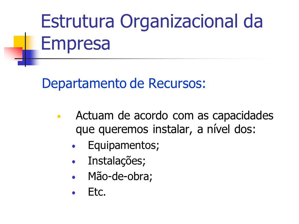 Estrutura Organizacional da Empresa Departamento de Recursos: Actuam de acordo com as capacidades que queremos instalar, a nível dos: Equipamentos; In