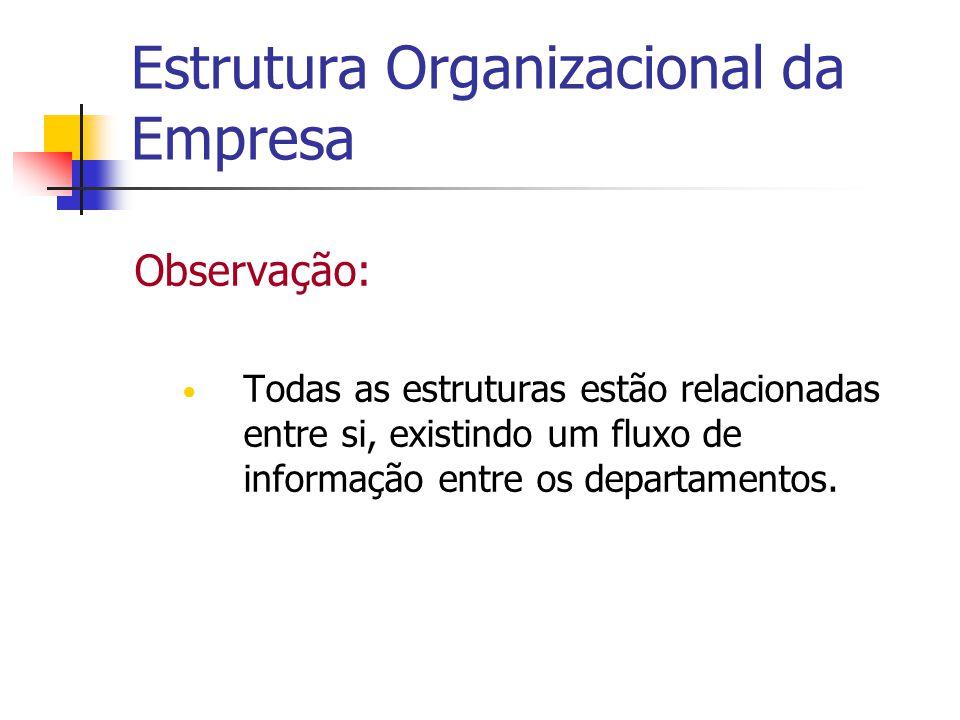 Estrutura Organizacional da Empresa Observação: Todas as estruturas estão relacionadas entre si, existindo um fluxo de informação entre os departament