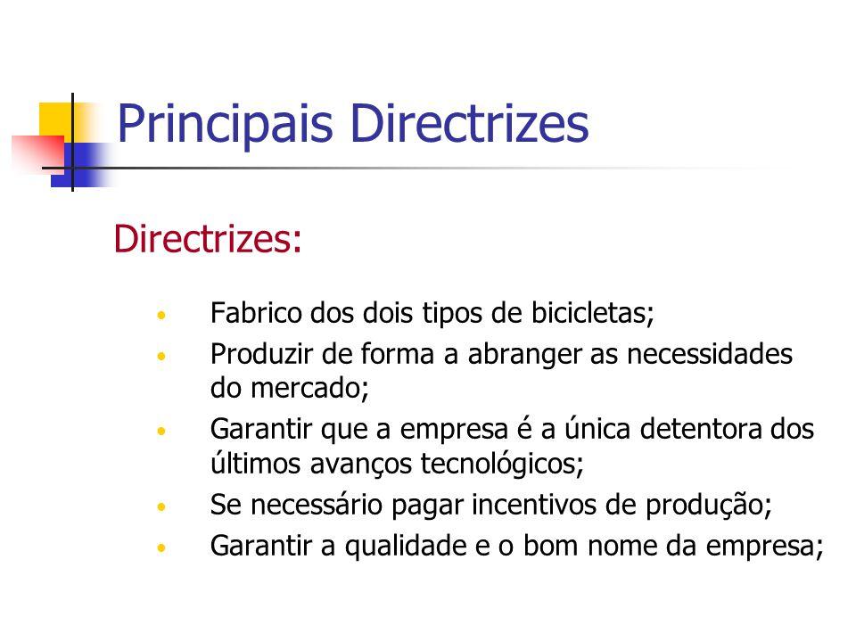 Principais Directrizes Directrizes: Fabrico dos dois tipos de bicicletas; Produzir de forma a abranger as necessidades do mercado; Garantir que a empr