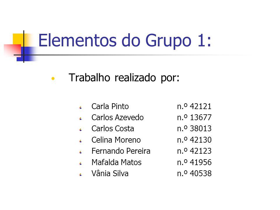 Elementos do Grupo 1: Trabalho realizado por: Carla Pinton.º 42121 Carlos Azevedon.º 13677 Carlos Costan.º 38013 Celina Morenon.º 42130 Fernando Perei