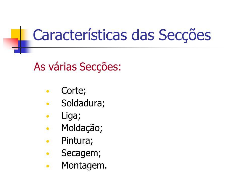 Características das Secções As várias Secções: Corte; Soldadura; Liga; Moldação; Pintura; Secagem; Montagem.