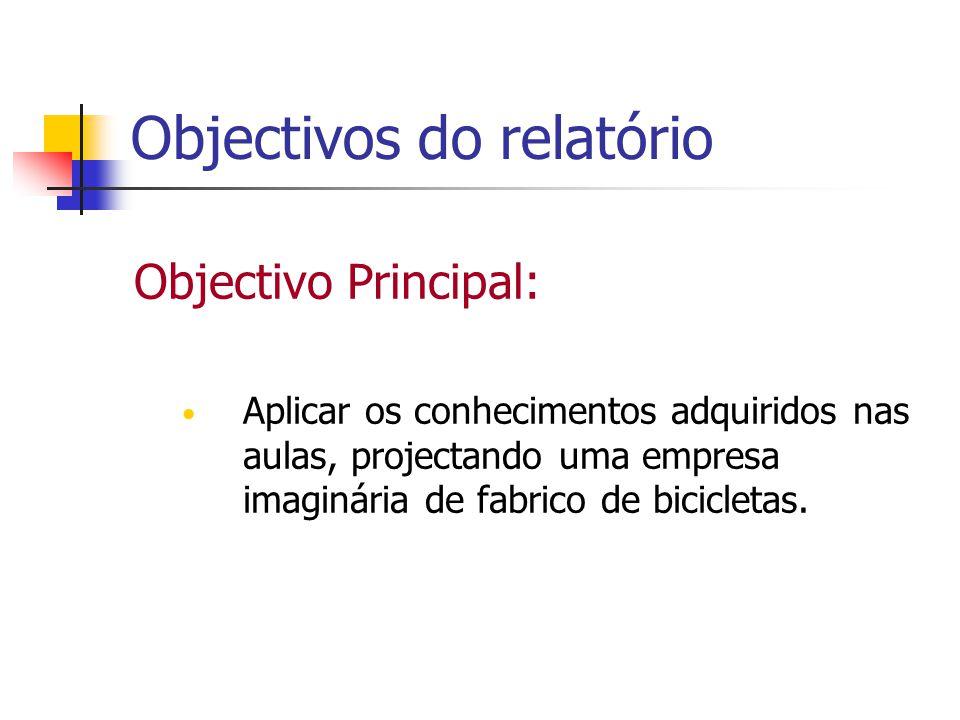 Objectivos do relatório Objectivo Principal: Aplicar os conhecimentos adquiridos nas aulas, projectando uma empresa imaginária de fabrico de bicicleta