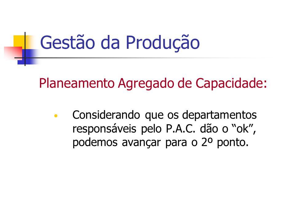 Gestão da Produção Planeamento Agregado de Capacidade: Considerando que os departamentos responsáveis pelo P.A.C. dão o ok, podemos avançar para o 2º