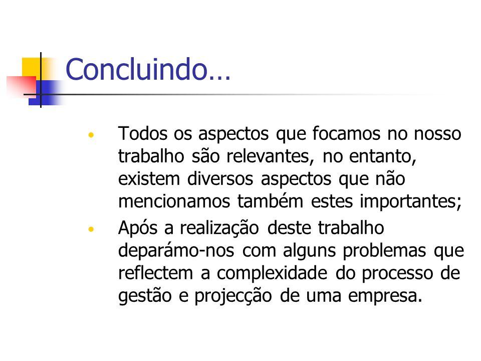 Concluindo… Todos os aspectos que focamos no nosso trabalho são relevantes, no entanto, existem diversos aspectos que não mencionamos também estes imp