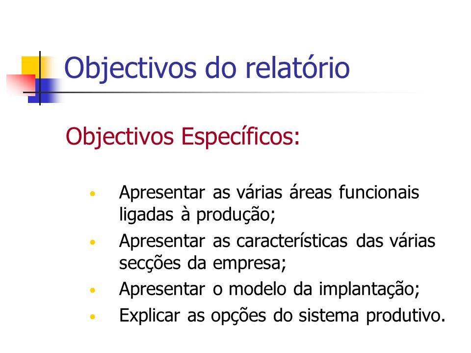 Objectivos do relatório Objectivos Específicos: Apresentar as várias áreas funcionais ligadas à produção; Apresentar as características das várias sec