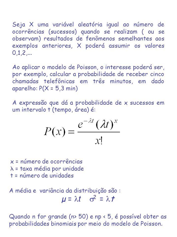 Seja X uma variável aleatória igual ao número de ocorrências (sucessos) quando se realizam ( ou se observam) resultados de fenômenos semelhantes aos e