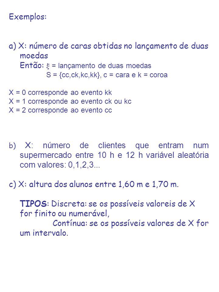 Exemplos: a) X: número de caras obtidas no lançamento de duas moedas Então: = lançamento de duas moedas S = {cc,ck,kc,kk}, c = cara e k = coroa X = 0