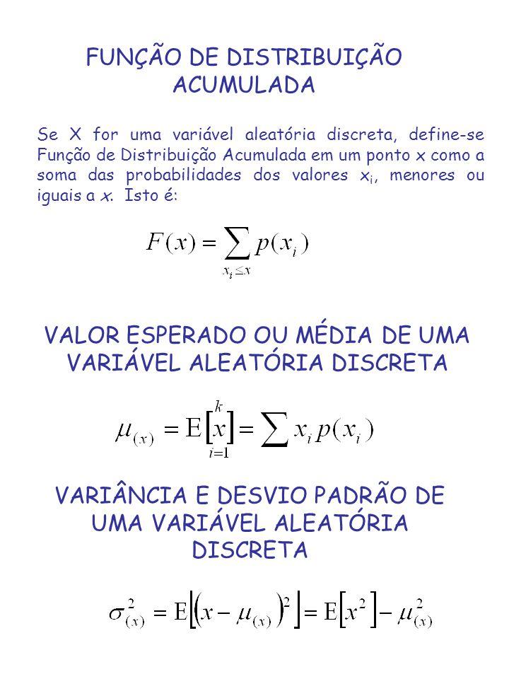 FUNÇÃO DE DISTRIBUIÇÃO ACUMULADA Se X for uma variável aleatória discreta, define-se Função de Distribuição Acumulada em um ponto x como a soma das pr