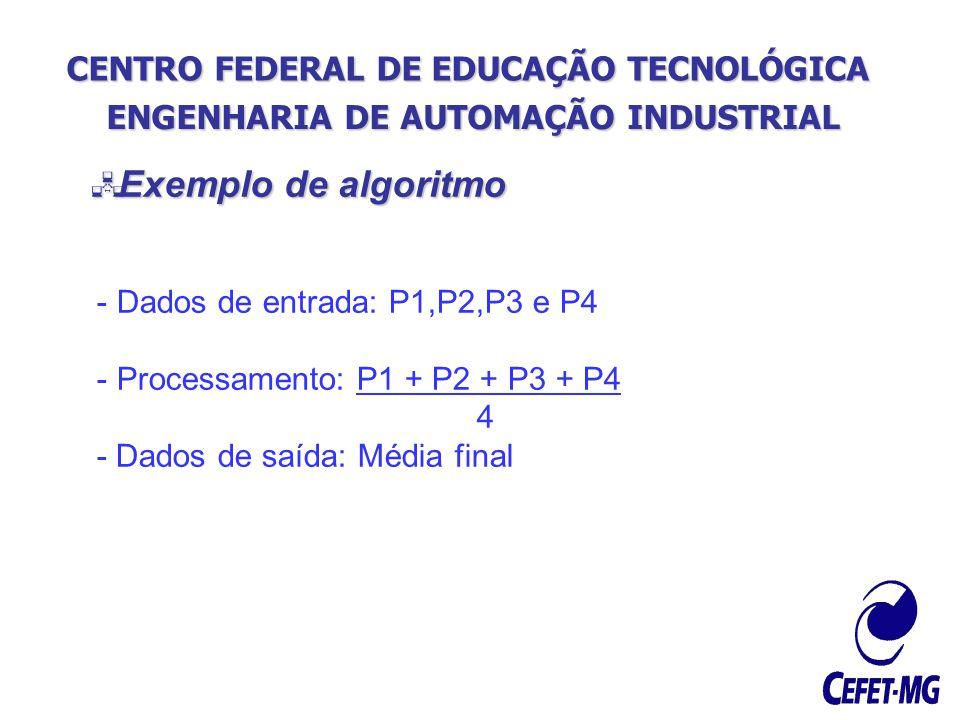 CENTRO FEDERAL DE EDUCAÇÃO TECNOLÓGICA ENGENHARIA DE AUTOMAÇÃO INDUSTRIAL Exemplo de algoritmo Exemplo de algoritmo - Dados de entrada: P1,P2,P3 e P4