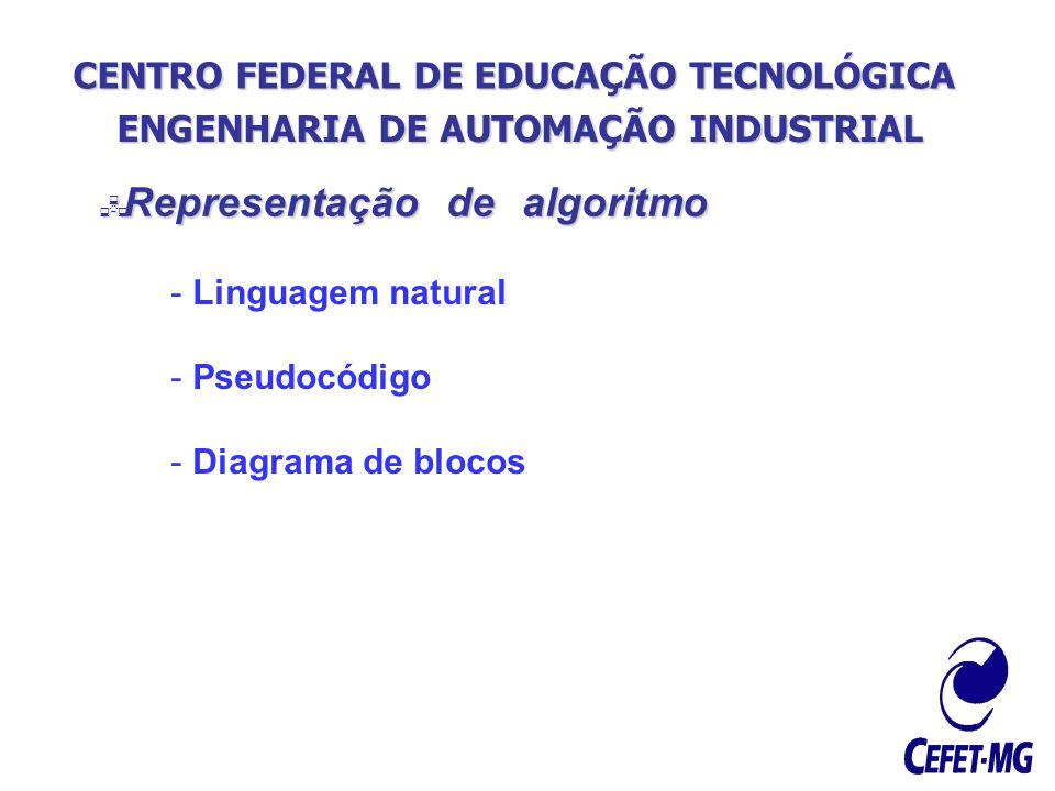 CENTRO FEDERAL DE EDUCAÇÃO TECNOLÓGICA ENGENHARIA DE AUTOMAÇÃO INDUSTRIAL Representação de algoritmo Representação de algoritmo - Linguagem natural -